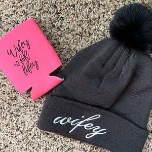 """Accessories - Wifey Winter Hat & """"Wifey for Lifey"""" Koozie Bundle"""
